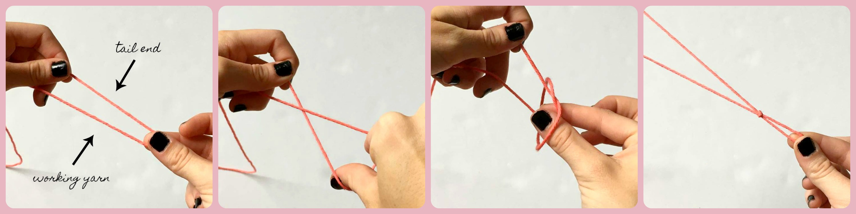 A photo collage of the first method you can use to tie a slip knot