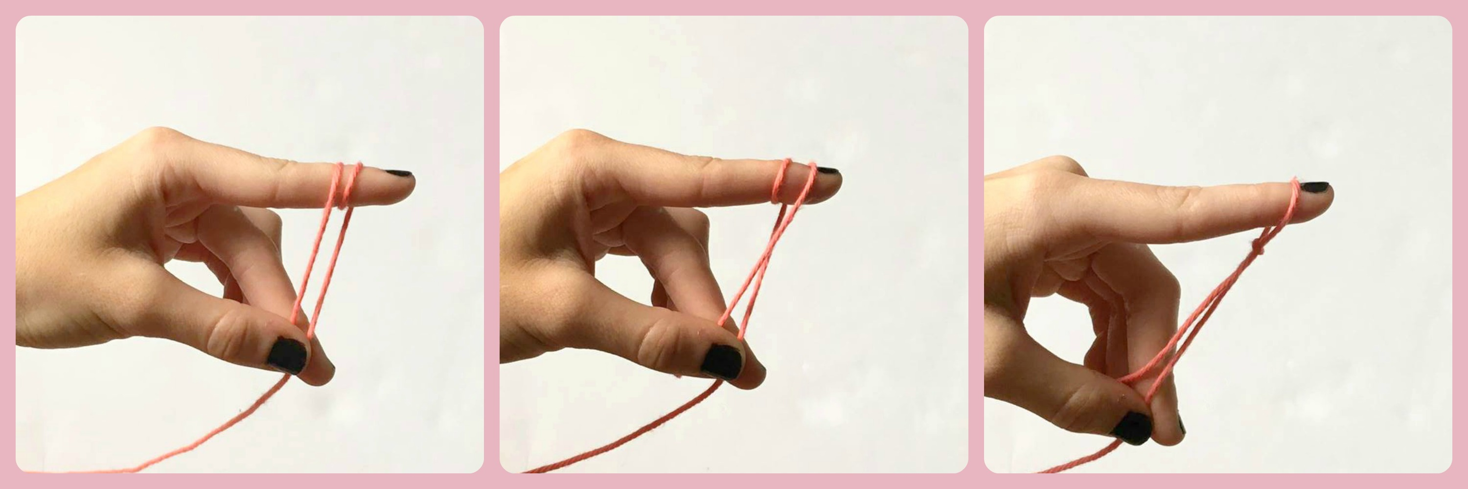 A photo collage showing the second method used to tie a slip knot