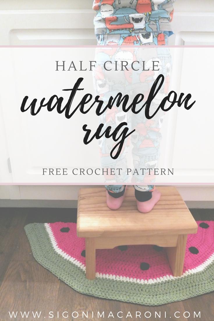 Half Circle Watermelon Rug Crochet Pattern Sigoni Macaroni