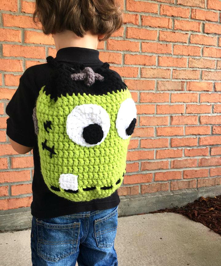 crochet frankenstein drawstring backpack