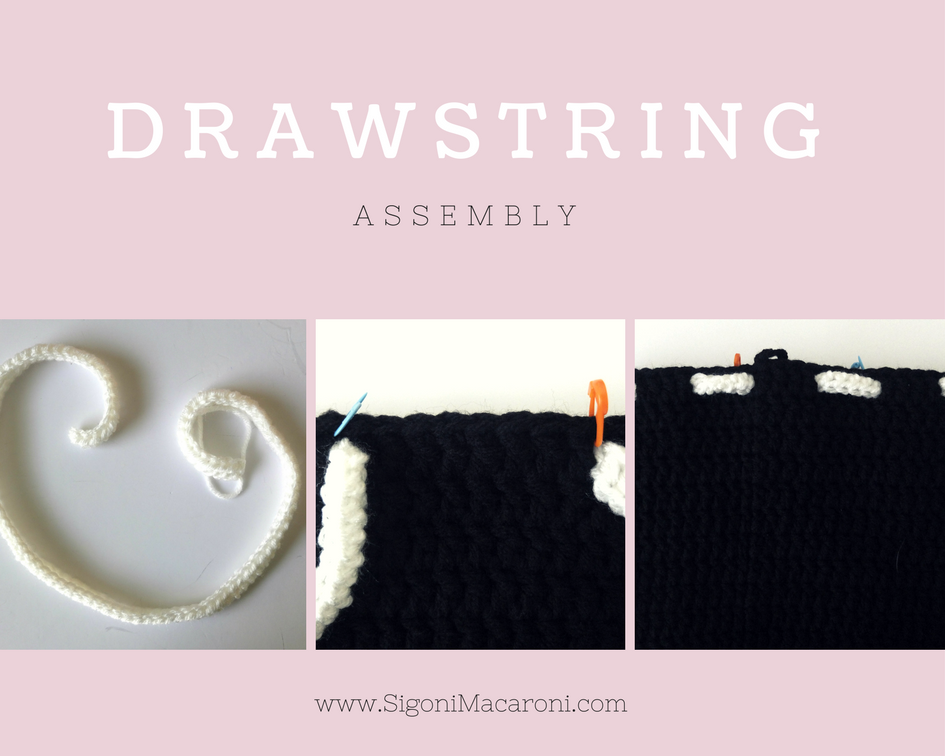 crochet jack skellington drawstring backpack