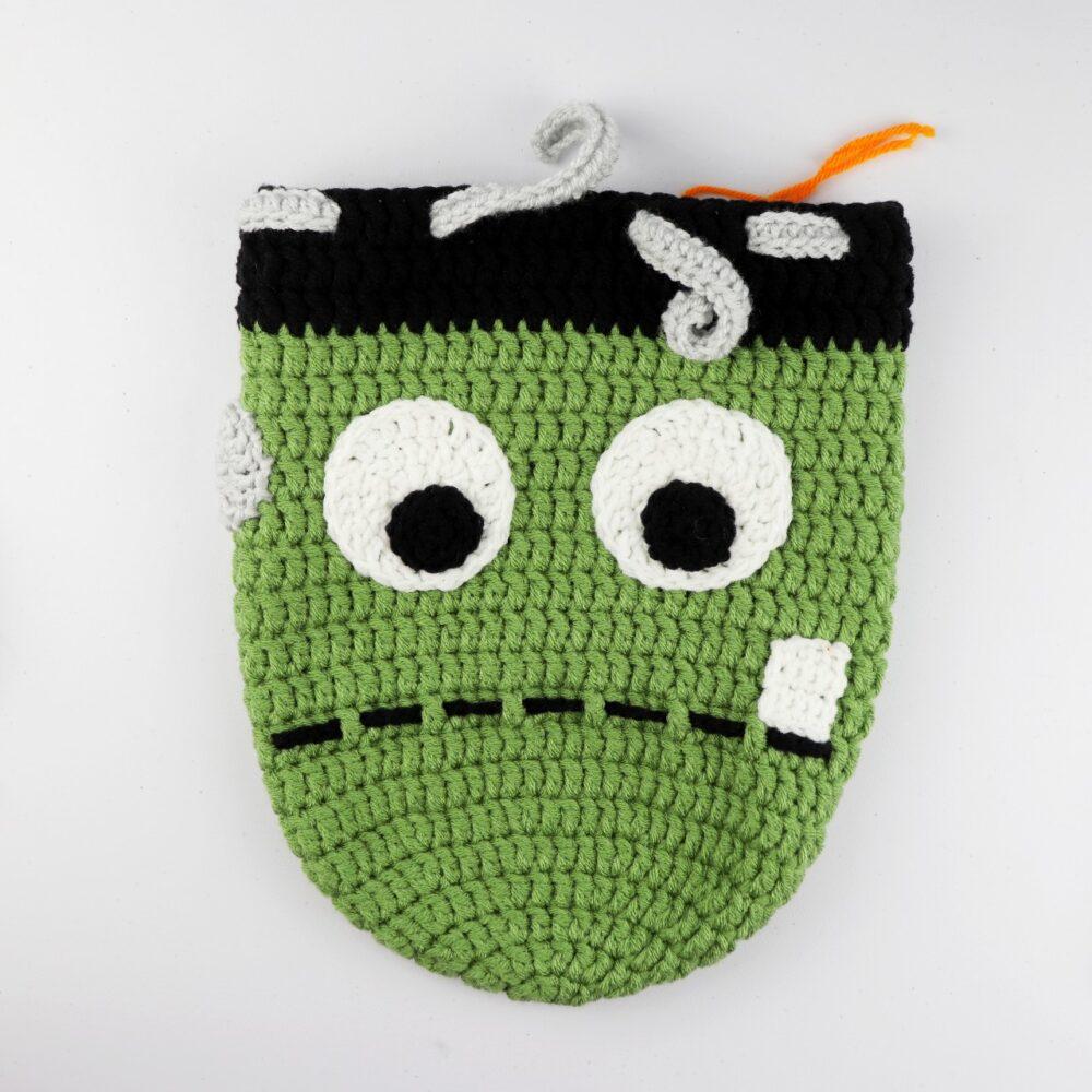 Crochet Frankenstein Drawstring Backpack   FREE Halloween Crochet Pattern