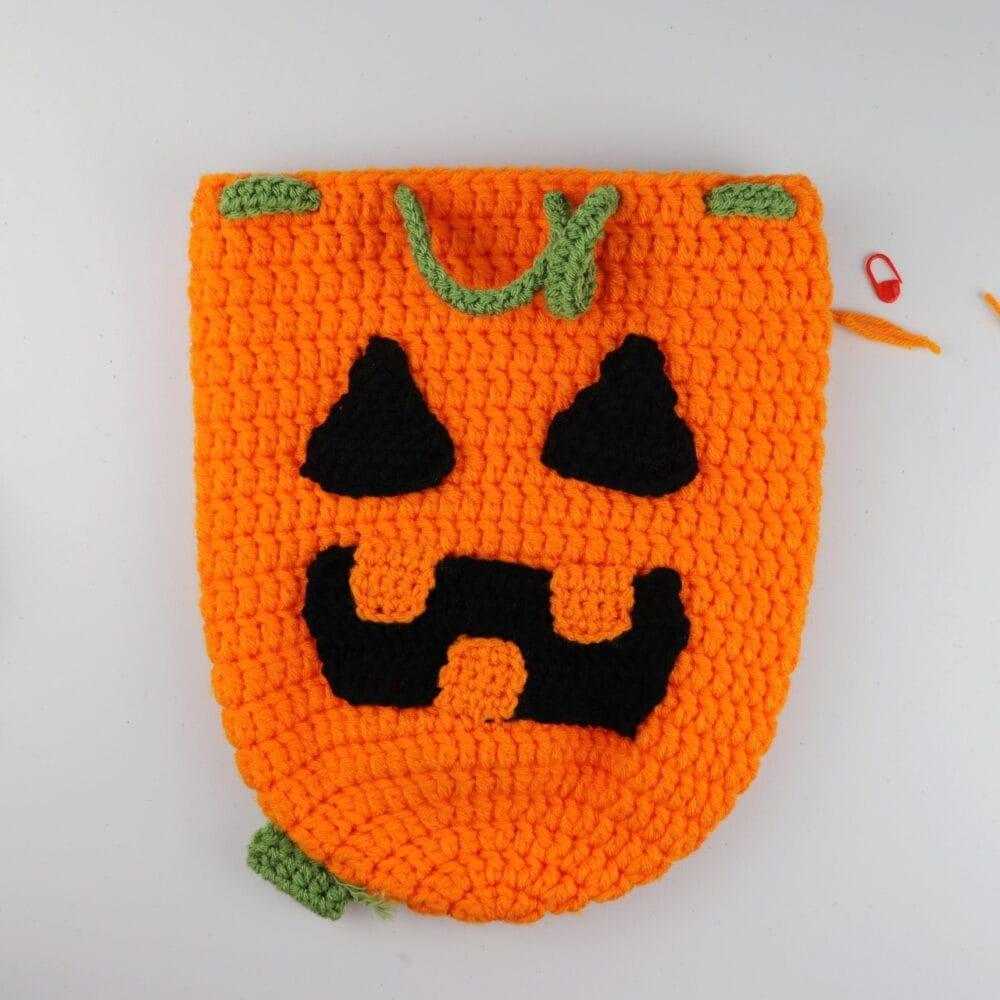 Crochet Pumpkin Drawstring Backpack | FREE Halloween Crochet Pattern