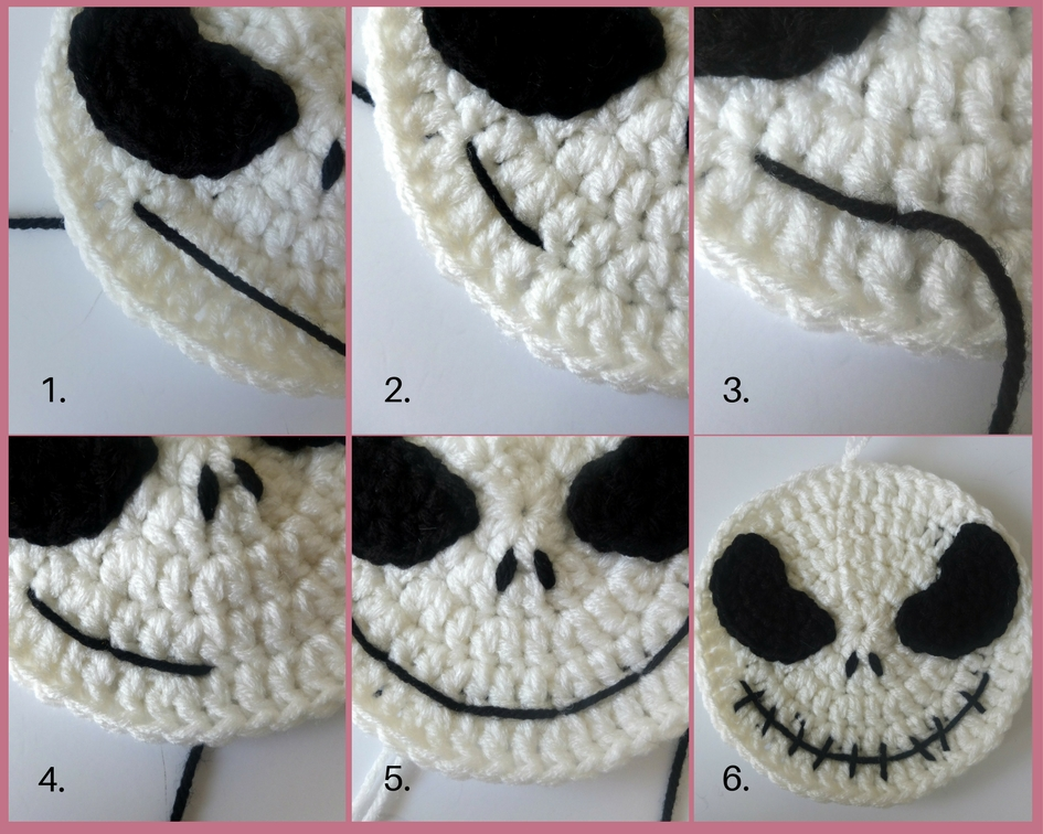 Crochet Jack Skellington Drawstring Backpack Sigoni Macaroni