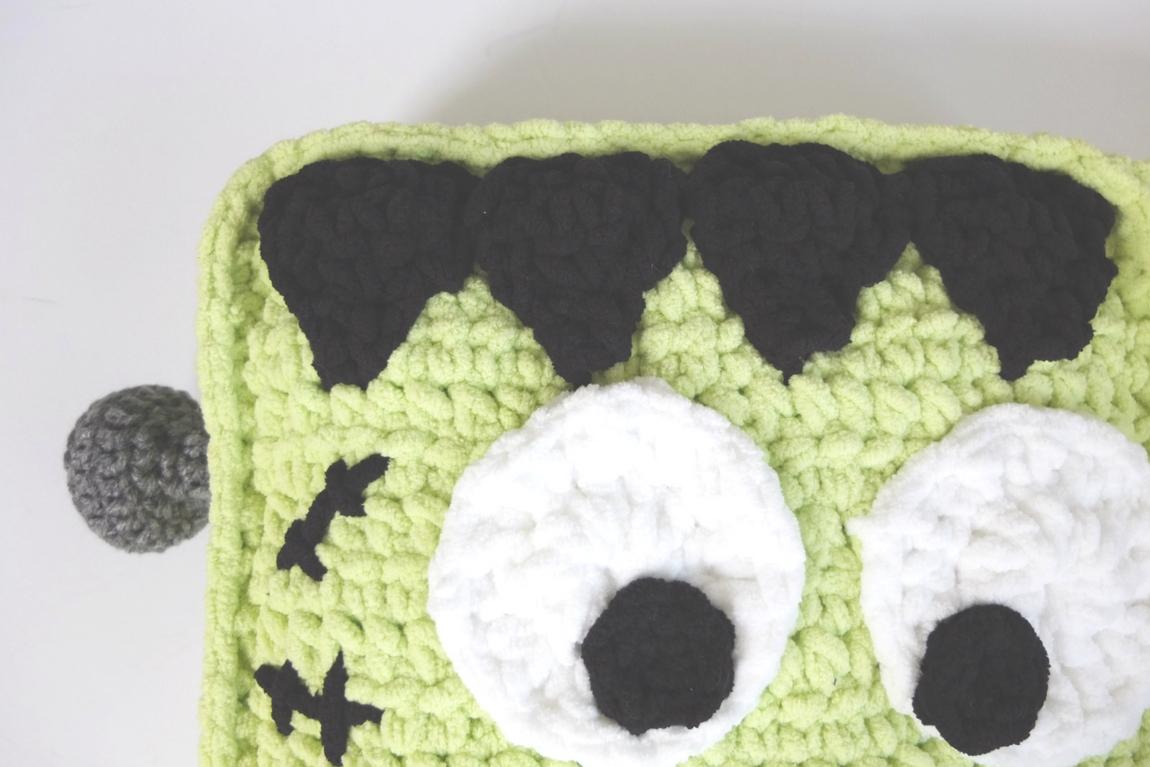 frankenstein crochet monster pillow