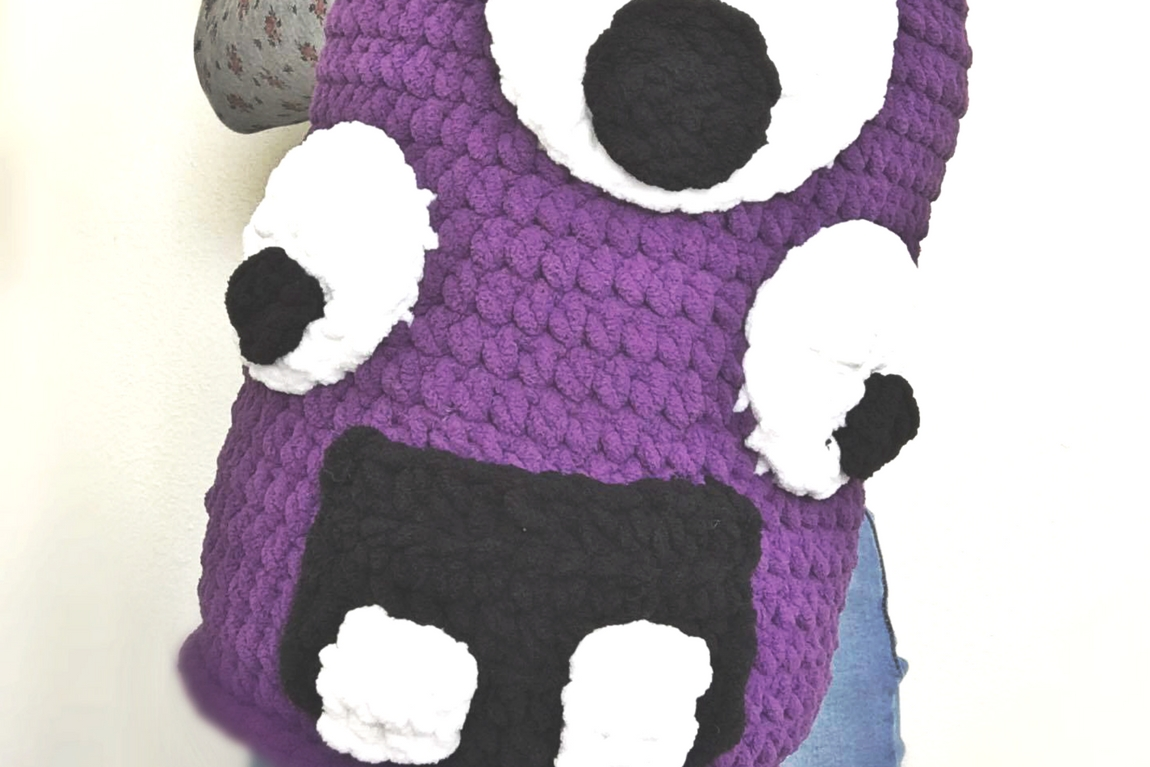 Grumly the Crochet Monster Pillow