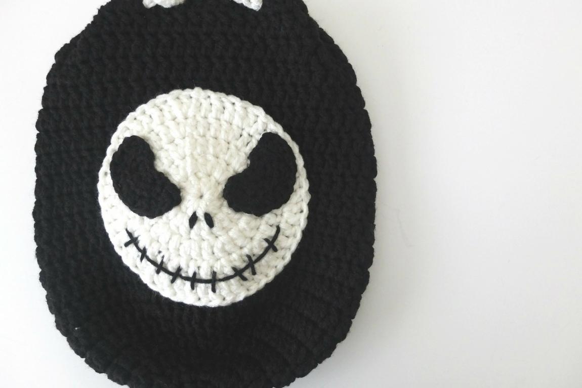 eaa58fe5c04cd Crochet Jack Skellington Drawstring Backpack -