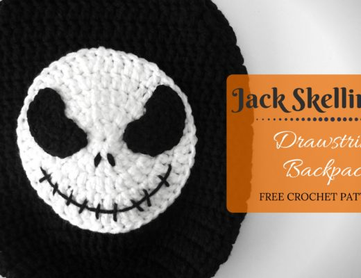 crochet jack skellington drawstring backpack