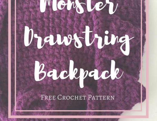 crochet monster drawstring backpack