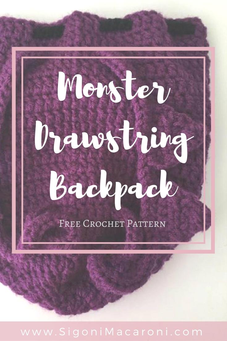 crochet monster drawstring backpack