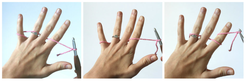 Sigoni Macaroni is showing three common ways to hold your crochet hook and yarn.
