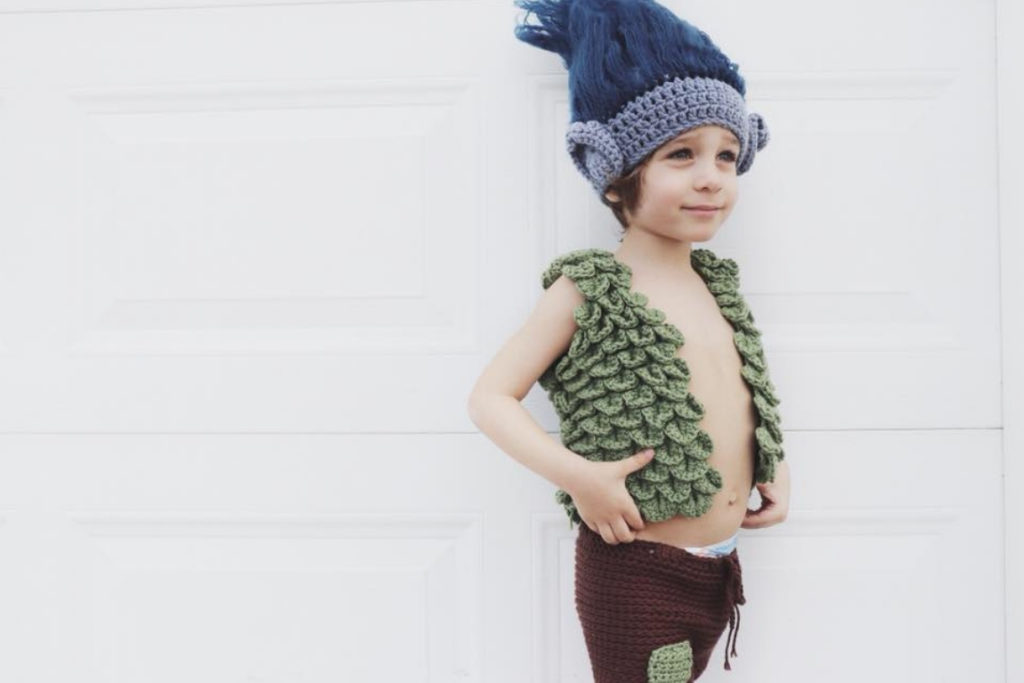 Sigoni's first crochet design of her son's Halloween costume - Branch from Trolls
