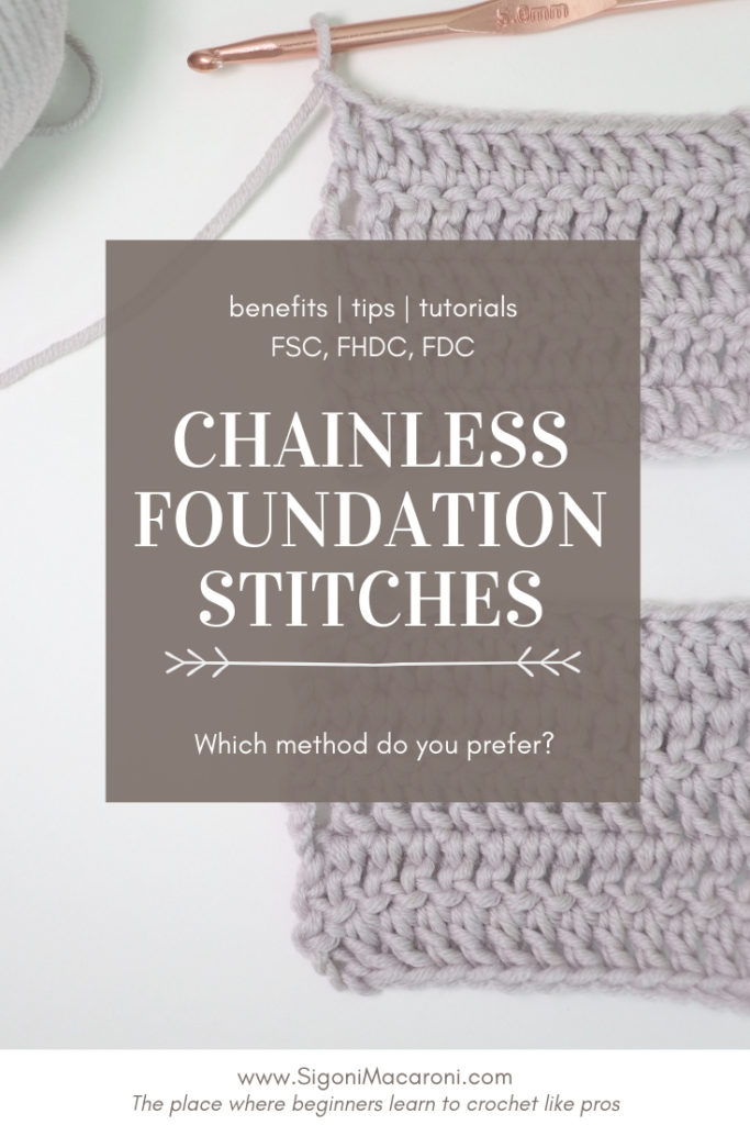 Pinterest image for the blog post: Chainless Foundation Crochet Stitches: Benefits, Tutorials - FSC, FHDC, FDC
