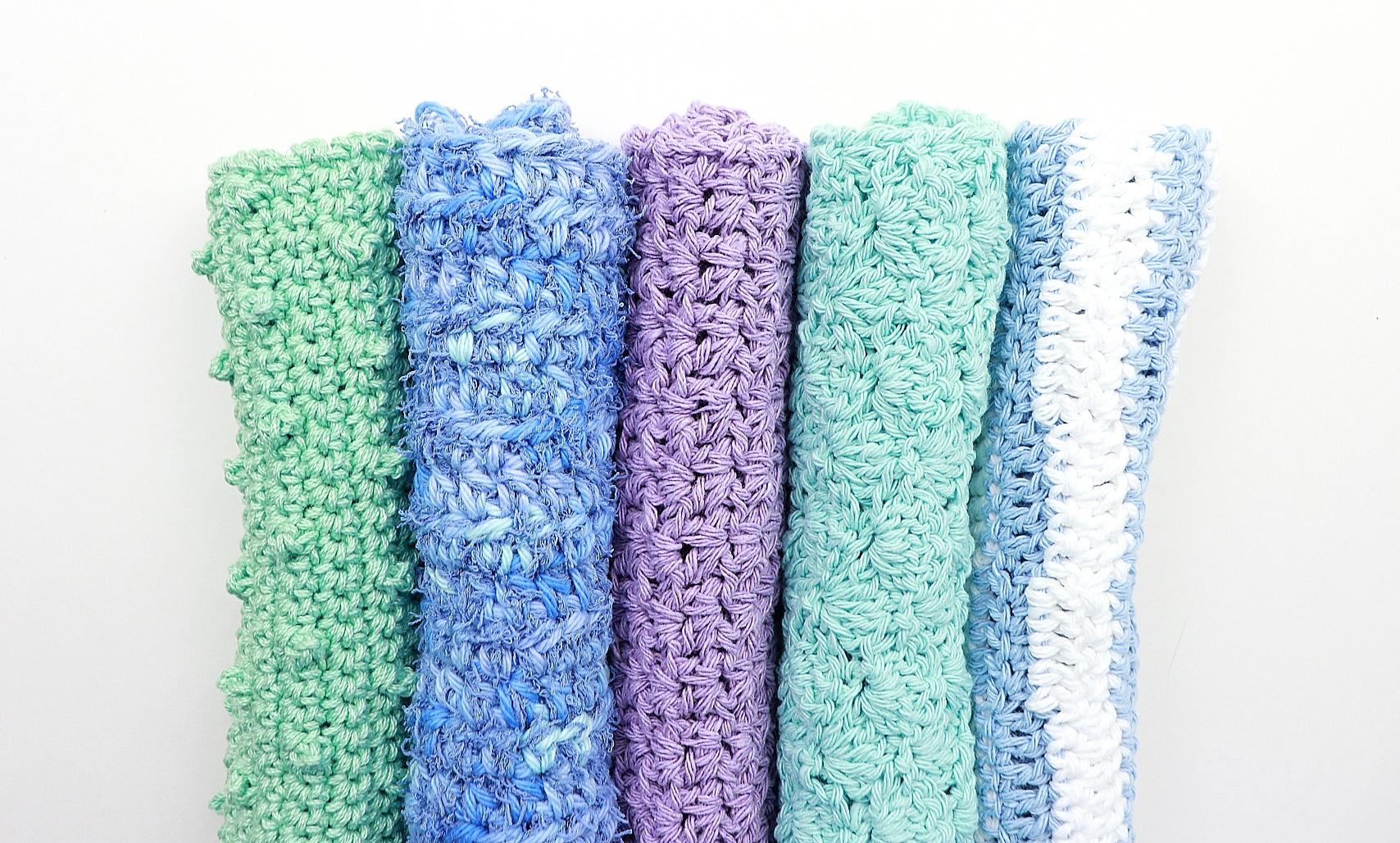 5 Quick & Pretty Crochet Washcloth Patterns to Practice the Basic Beginner Stitches