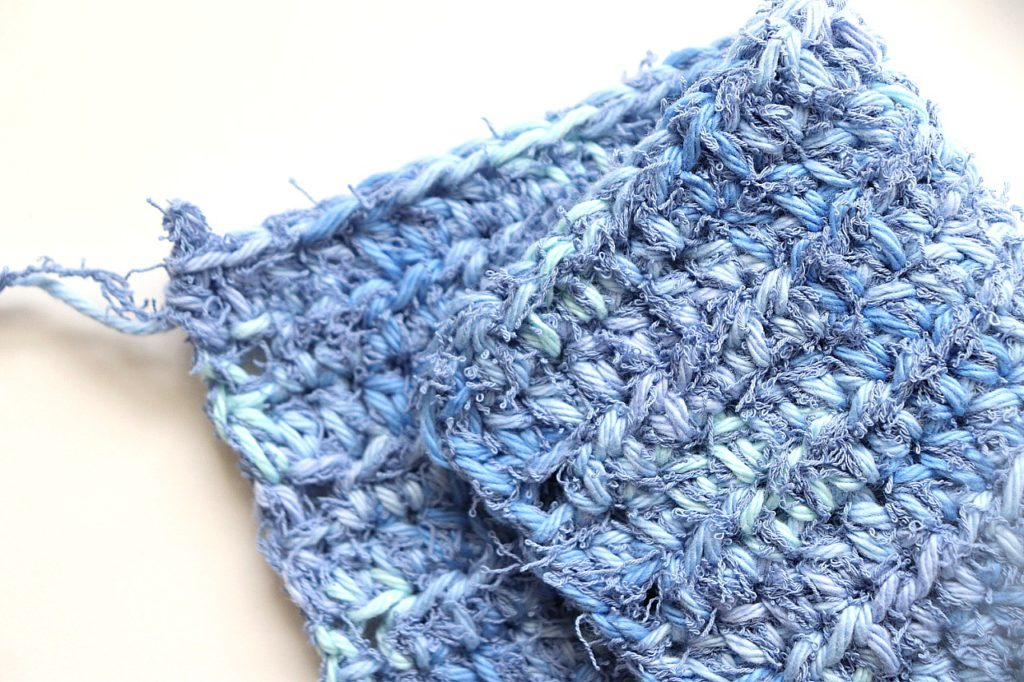 A photo of the Simple Scrubby Dishcloth Crochet Pattern - 1 of the 5 pretty, quick, and beginner friendly crochet washcloth patterns