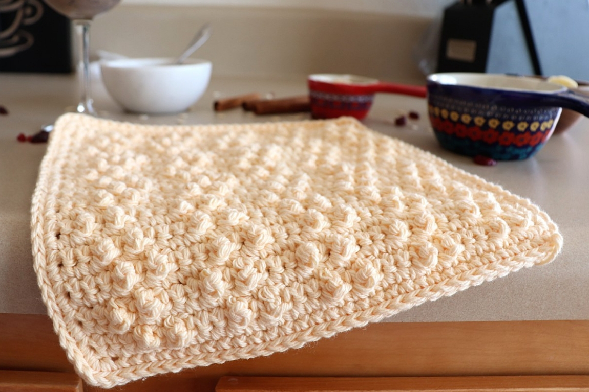 Treble Pop Washcloth Crochet Pattern For Beginners To Practice The Basic Stitches