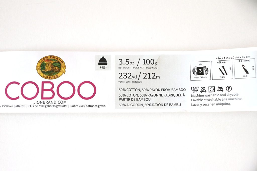 A photo showing the yarn label of Lion Brand Coboo. The yarn label is the key to figuring out How to Choose the Right Yarn for Crochet Beginners