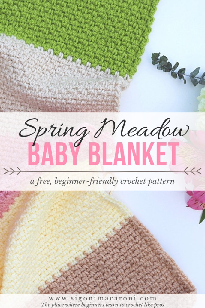 The Spring Meadow Baby Blanket Crochet Pattern is a free, beginner-friendly pattern with so many possibilities. Don't let the colors fool you. This is a unisex crochet pattern for boys and girls alike, thanks to the wonderful colors by Paintbox Yarns! This crochet pattern features the moss stitch and is quick and easy, making it perfect for beginners! -via Sigoni Macaroni
