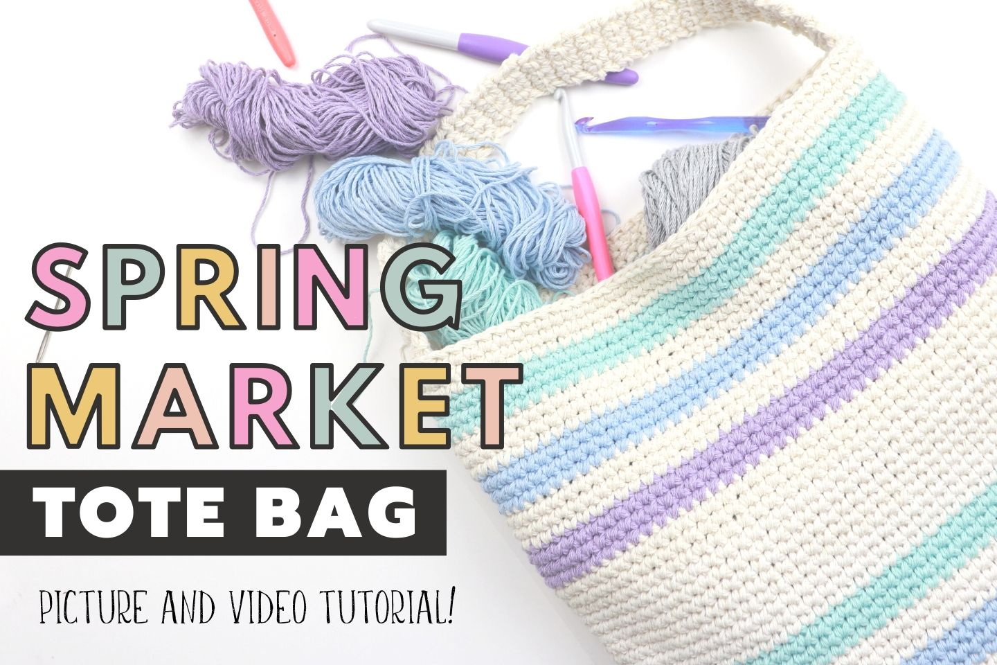 Spring Market Tote Bag | Free Crochet Pattern with Video Tutorial!