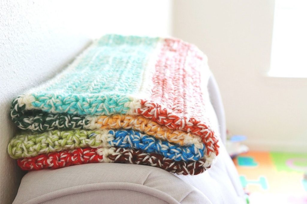 With 9 total colors this double scrap scrap blanket is a very colorful free crochet pattern