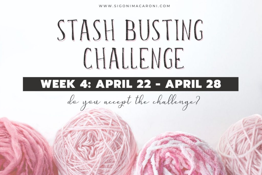 Week 4 of the Stash Busting Challenge has begun with 33 scrap yarn crochet projects.