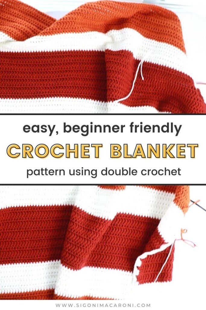 Pinterest image for an easy beginner friendly crochet blanket pattern using double crochet stitches