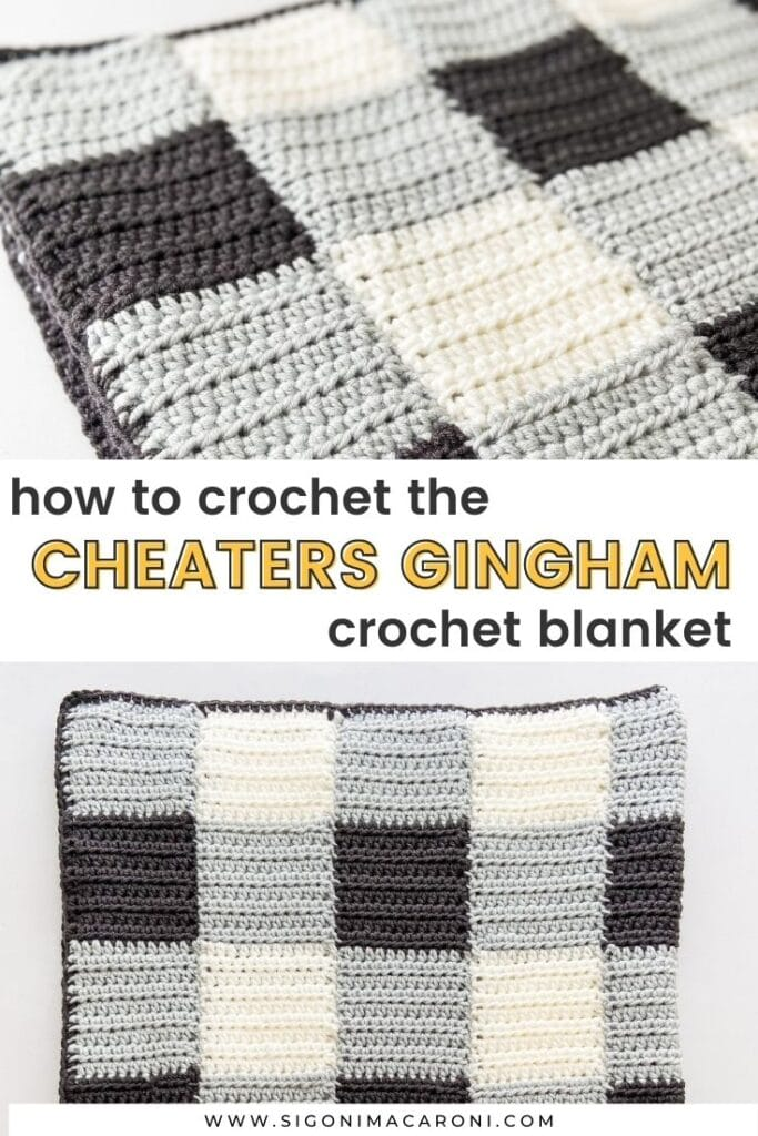 "Two up close photos of the Cheaters Gingham Crochet Blanket pattern with text that says, ""How to crochet the Cheaters Gingham Crochet Blanket"""