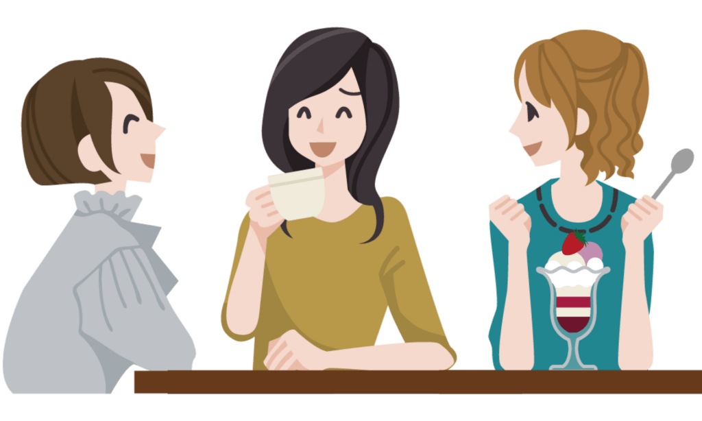 A group of animated girls sitting around drinking coffee and eating ice cream