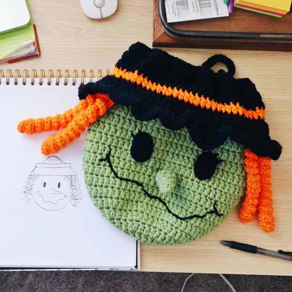 crochet witch trick or treat bag with matching drawing