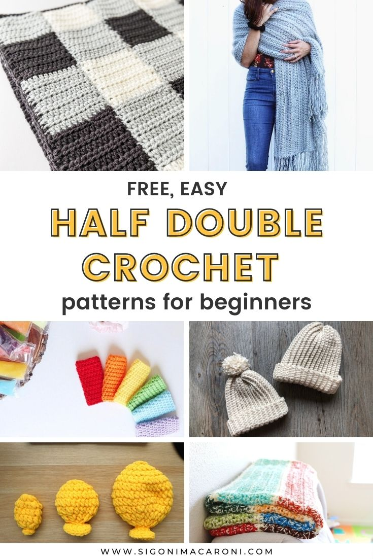 When you're first learning how to crochet, it's good to master the basic stitches before moving on to more complicated stitch patterns. I put together this roundup of free half double crochet patterns for beginners so you can practice and have fun making at the same time! Some of the patterns below only use the half double crochet (hdc) stitch throughout while others will use a combination of other basic stitches. You will find many free patterns here from blankets to hats to bags and more! via @sigonimacaronii