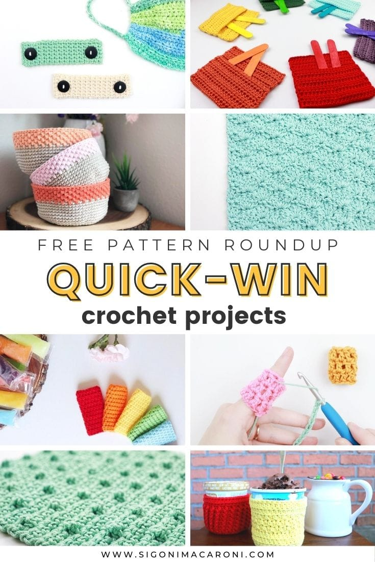 Sometimes when you're working on a project that's taking longer than you hoped, you could use a quick win. Even if you're not working on a longer project in the background, it's nice to work on a mini crochet project that you can work up in no time. I put together this free pattern roundup filled with small quick win crochet projects that you can make for yourself or as gifts! via @sigonimacaronii