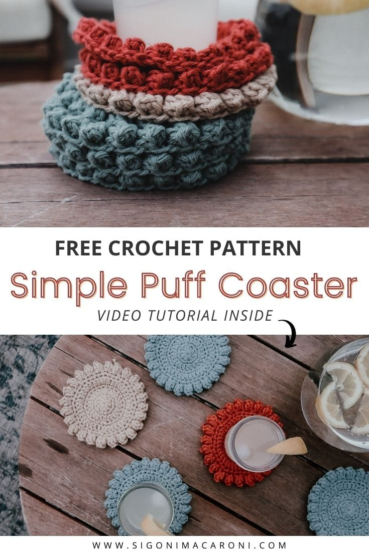 Whether you want to make a thoughtful housewarming gift, a last minute Christmas present, or you just want to use up some scrap yarn, this free super simple crochet coaster pattern is for you. By using just two stitches (single and double crochet), you can make these beautifully simple coasters in an array of colors to compliment your home or use some scrap yarn to make them a little funky! This coaster pattern is worked in the round and is easy and beginner friendly! via @sigonimacaronii