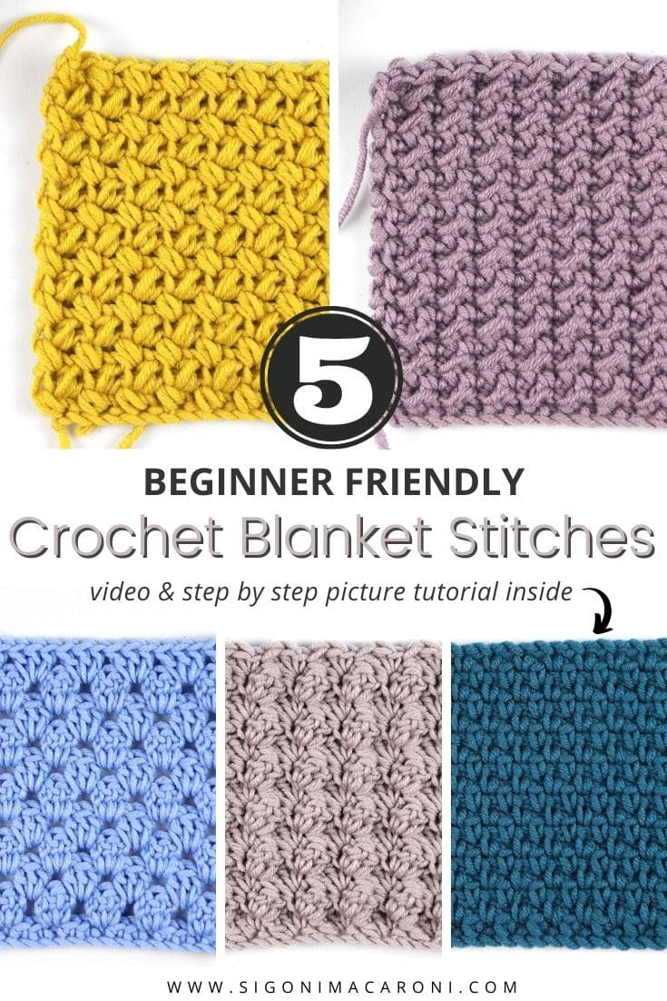 These 5 beginner friendly crochet blanket stitches are simple, reversible, and stunning! In today's tutorial you will find step by step picture tutorials and a video tutorial for each of these beginner friendly crochet blanket stitches. We will be learning how to crochet the Blanket stitch, the Moss stitch, the Granny Stripe stitch, the Mini Bean stitch, and the Crunch stitch! Each of these stitches would make great blankets, but they can be used to make so many other projects too! via @sigonimacaronii