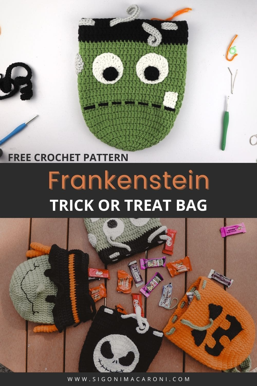 Crochet Frankenstein Drawstring Backpack   FREE Halloween Crochet Pattern via @sigonimacaronii