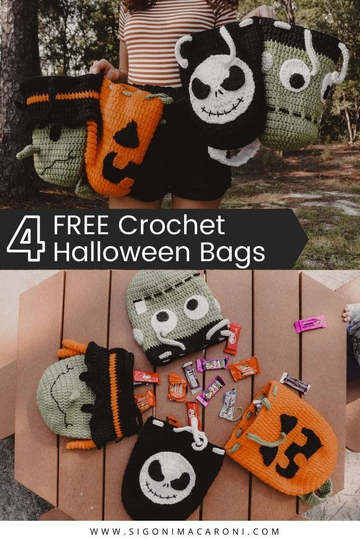 These crochet Halloween candy bags are quick to make, easy to assemble, and they're going to be a HIT with your kids this year! These trick or treat bags are beginner friendly and there will be a video tutorial coming out soon to show you how to make each character step by step. You can use them to hold candy or even toys! via @sigonimacaronii