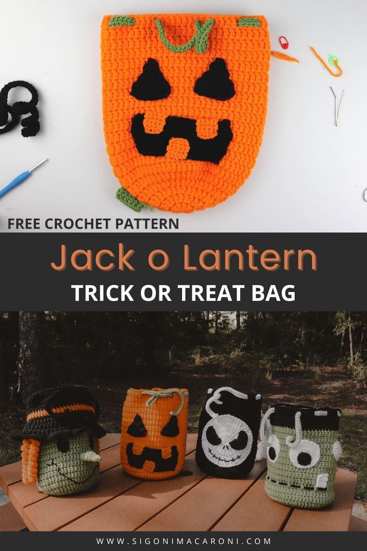Crochet Pumpkin Drawstring Backpack | FREE Halloween Crochet Pattern via @sigonimacaronii