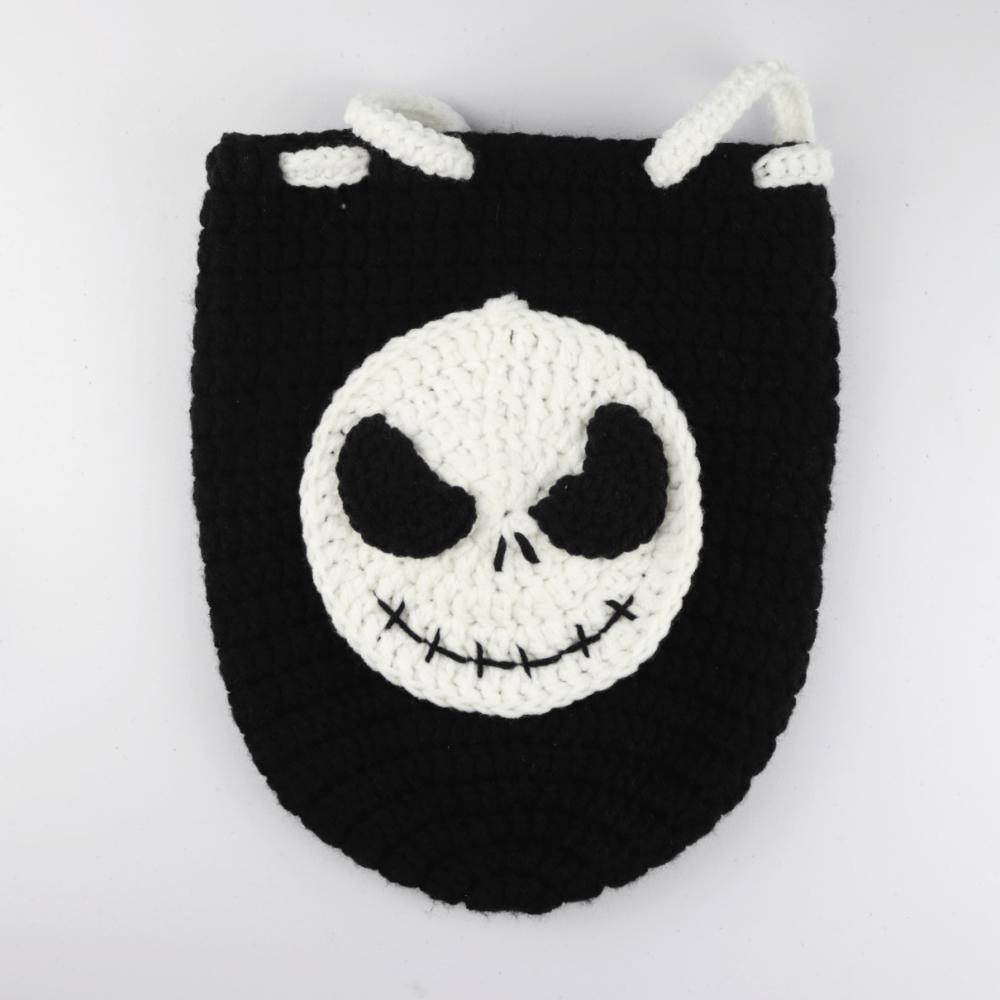 Crochet Jack Skellington Drawstring Backpack   FREE Halloween Crochet Pattern