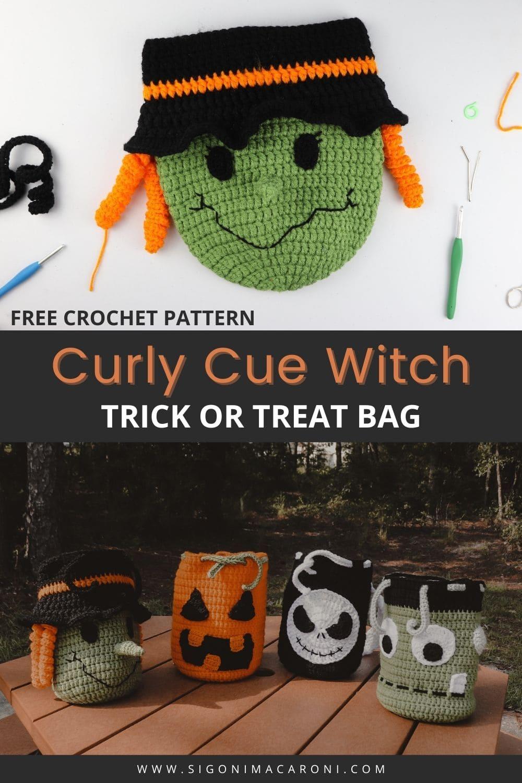 Halloween Witch Trick or Treat Bag Crochet Pattern via @sigonimacaronii